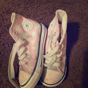 High top pink w/ silver stars toddler shoes